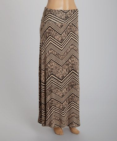 Another great find on #zulily! Taupe & Black Heather Zigzag Maxi Skirt #zulilyfinds