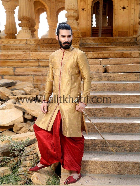 0b011a66d4 Royal Look #Dhoti #Kurta golden color raw silk kurta zari work. Item Code