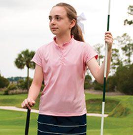 Tail Junior Girls Golf/Tennis Performance Pique Polo Shirts – Charm (Pink Quartz)