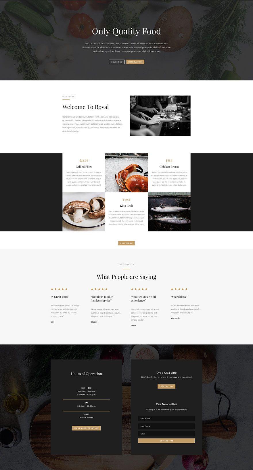 Restaurant Home Page Design De Interface Design Interface