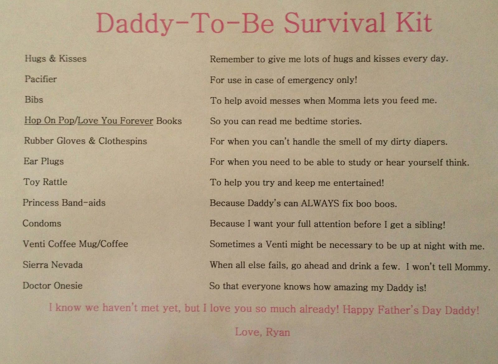 Daddy Survival Kit List Included In His New Dad Basket Are