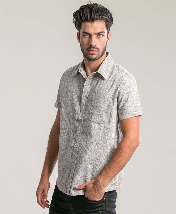 d1d14bfb2f1e7 Grey Button Up Shirt Men Psychedelic Short Sleeve Button Down Shirt ...