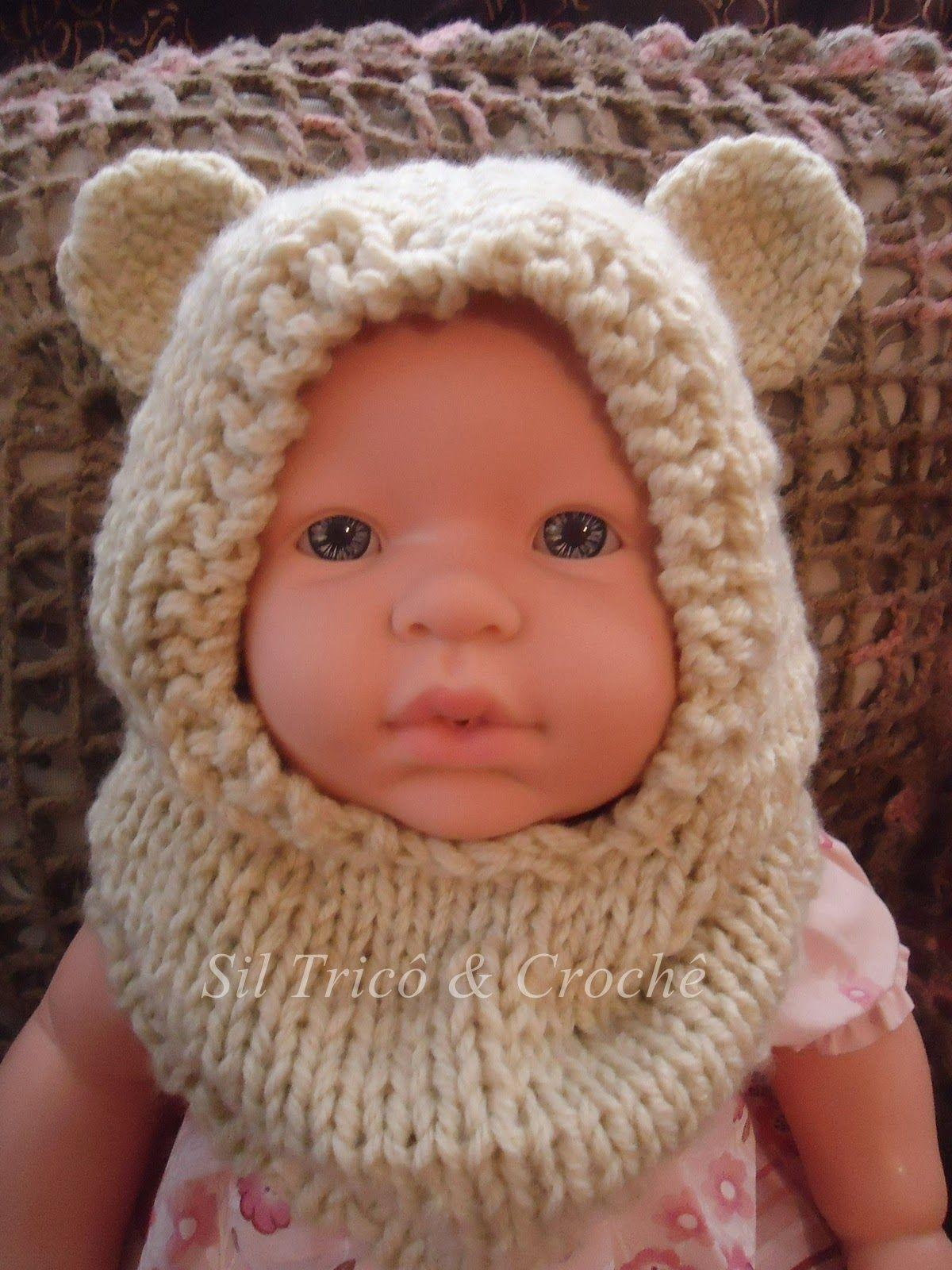Sil Tricô  Receita de Gola com Capuz para Bebê em tricô Touca De Trico  Infantil c4d5748a775