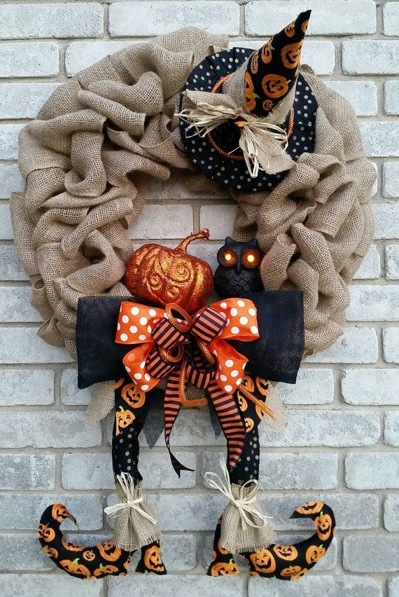 Happy Halloween Burlap Witch Wreath light up owl witch wreath