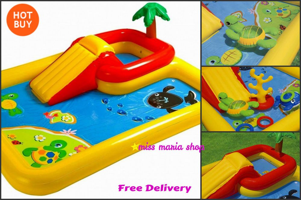 Kids Swimming Pool Slide Inflatable Paddling Toddler Paddling Play 2 In 1 Water Children Swimming Pool Baby Pool Kiddie Pool