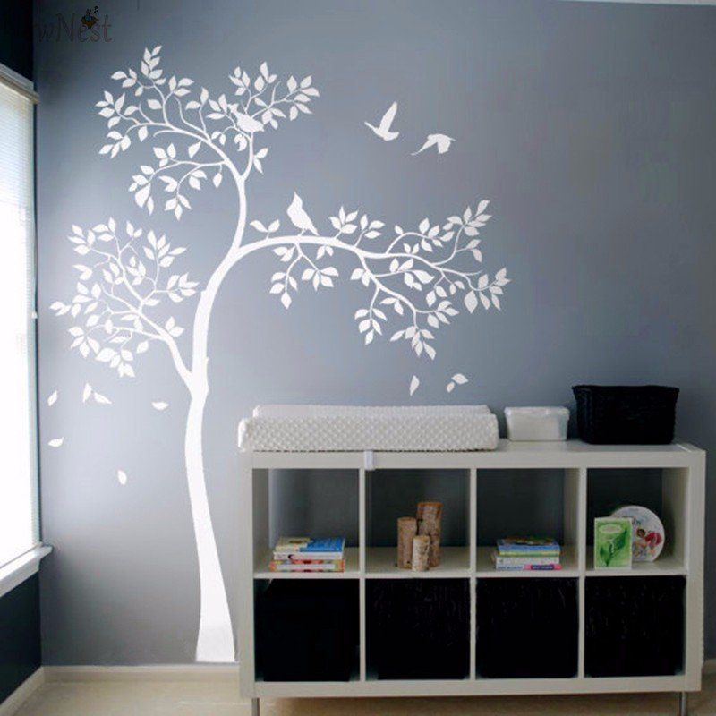 Huge White Tree Wall Decal Vinyl Sticker Birds Baby Nursery Bedroom Mural Kids Wallpaper Home Decor A 157