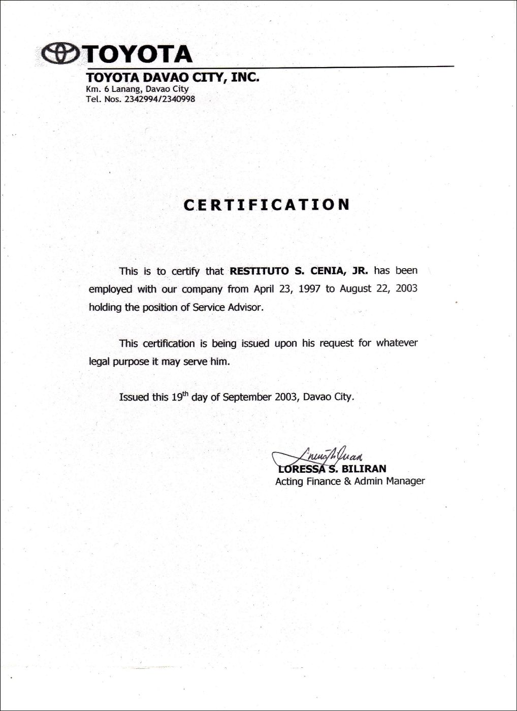 Employment Certificate Sample Best Templates Pinterest Employmentyota Davao  Employmentg  No Objection Certificate Format From Employer