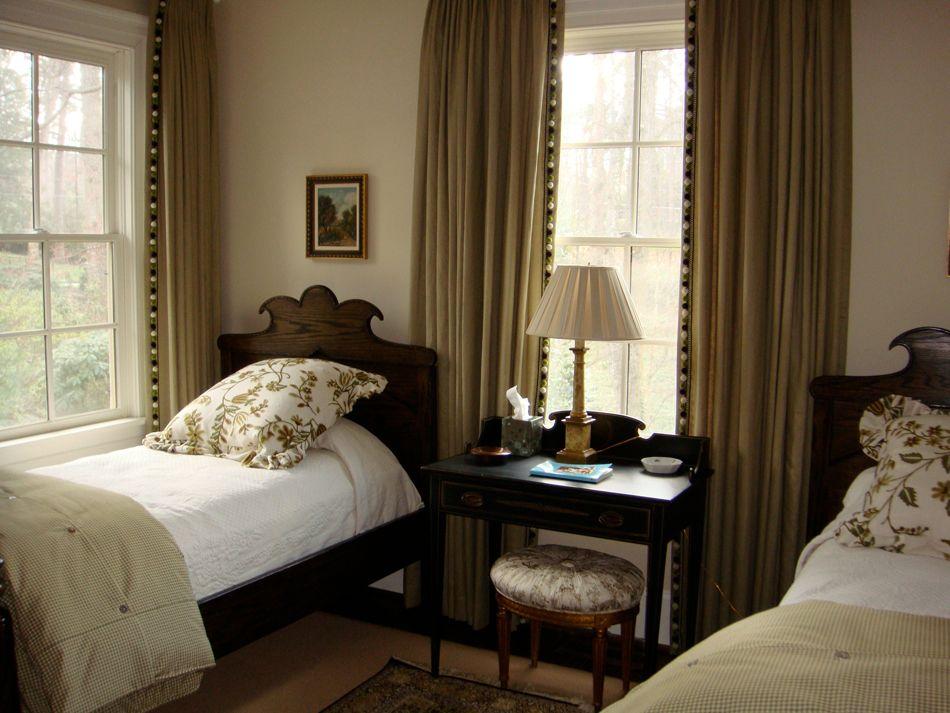 small bench between guest bedroom beds  guest bedrooms