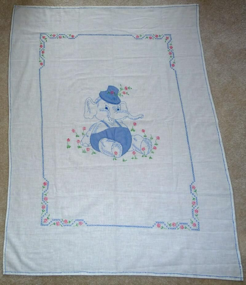 "embroiderey elephant quilt top | 42. Baby Elephant Crib Cover – 1943 – 32"" x 42"""