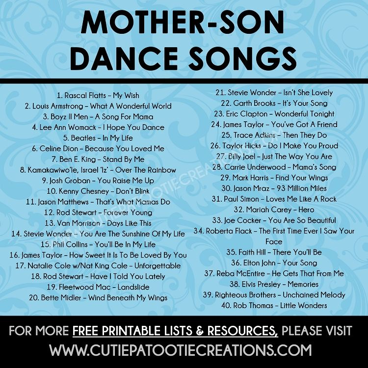 Mother Son Dance Songs for Mitzvahs and Weddings Top 40
