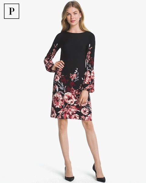 539ede0788573 Women s Petite Long-Sleeve Floral Knit Shift Dress by WHBM ...