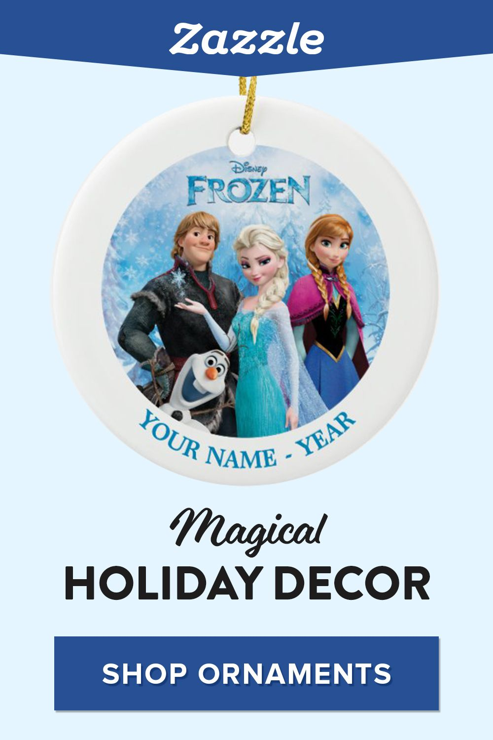 Shop custom Disney ornaments - on sale now! Create ornaments featuring Frozen characters, Mickey Mouse, Disney Princesses and more. Browse our Disney collection for custom gifts, stockings, cards, pillows, blankets and more.