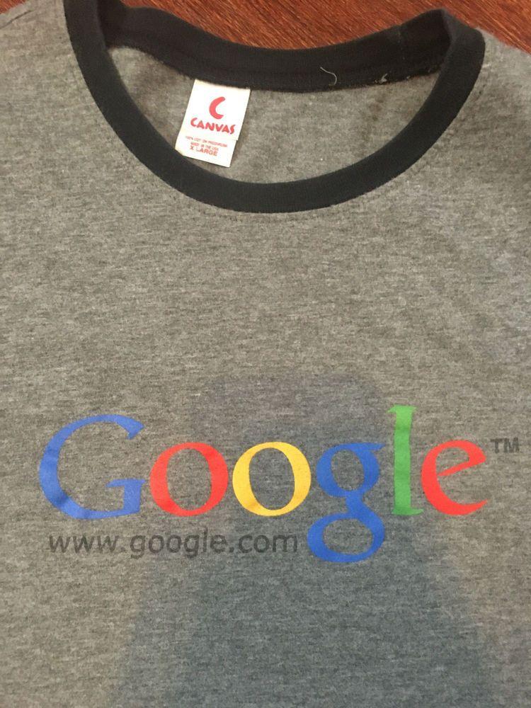Vintage Google Employee Gray T-Shirt Sz XL USA Made Black Ringer Collar   #Canvas #GraphicTee