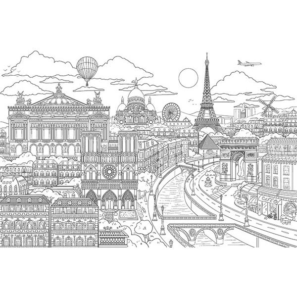 DWM2257 - Visite Paris Coloring Wall Mural - by Brewster Home ...
