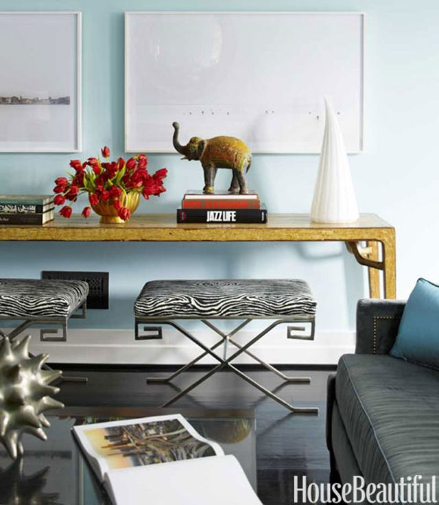 Living Room Benches In The Style Of Jean Michel Frank Are Covered In Zebra  Ultrasuede From Hinson And Tucked Under A Carling Nichols Chinese Console. Great Ideas