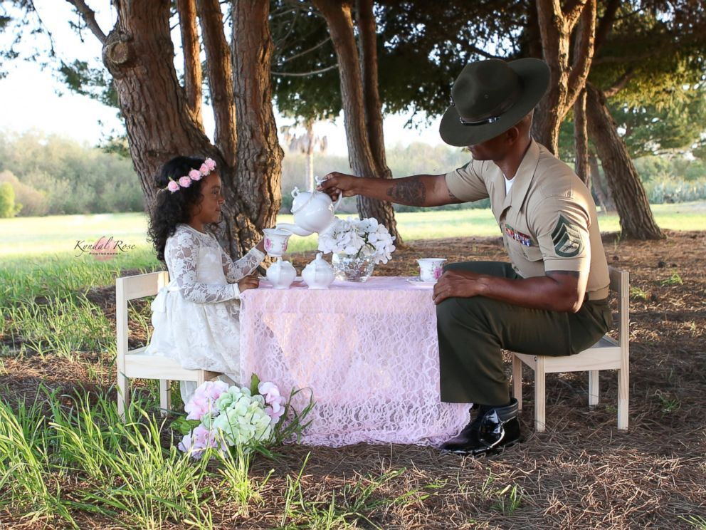 Marine Dad Surprised With Magical Tea Party Photo Shoot With 4