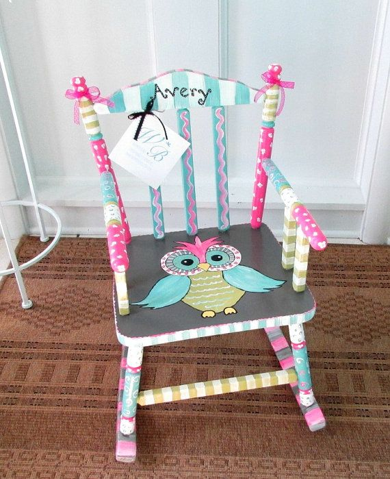 Personalized Painted Owl Child Rocking Chair Made To Order Girl