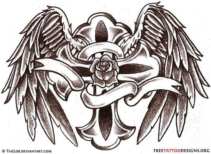 Angel Wings Tattoo Gallery 50 Cross Tattoos Tattoo