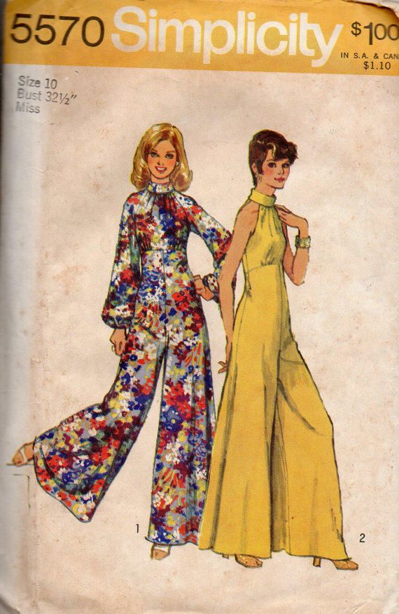 51700d1a25b Retro Disco Fashion 70s Bell Bottom Wide Leg Jumpsuit Pantsuit Halter  bodice Bare Shoulder Empire Waist Simplicity Sewing from Adele Bee Ann  Sewing.