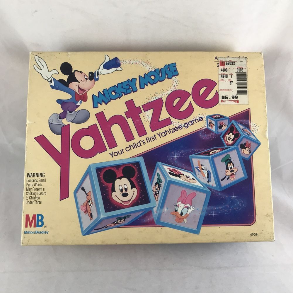Mickey mouse yahtzee dice board game 1988 milton bradley