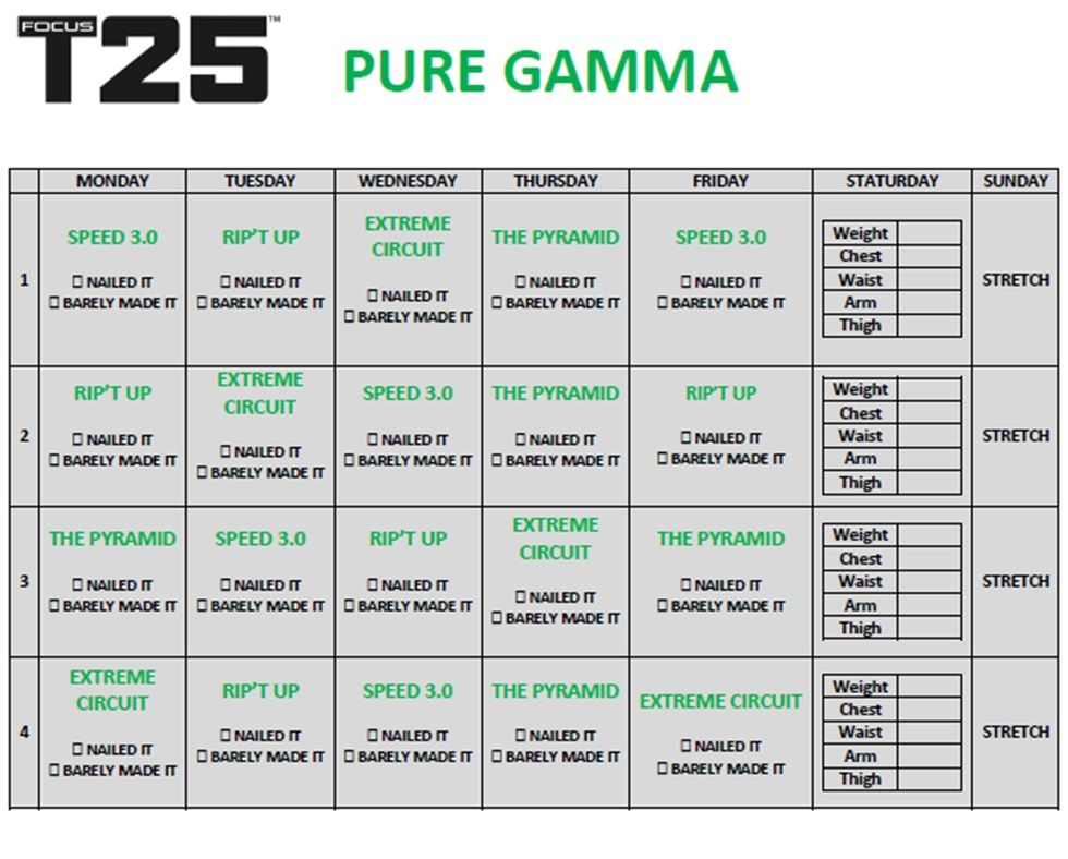 Gamma workout schedule | Fitness | T25 workout, Workout