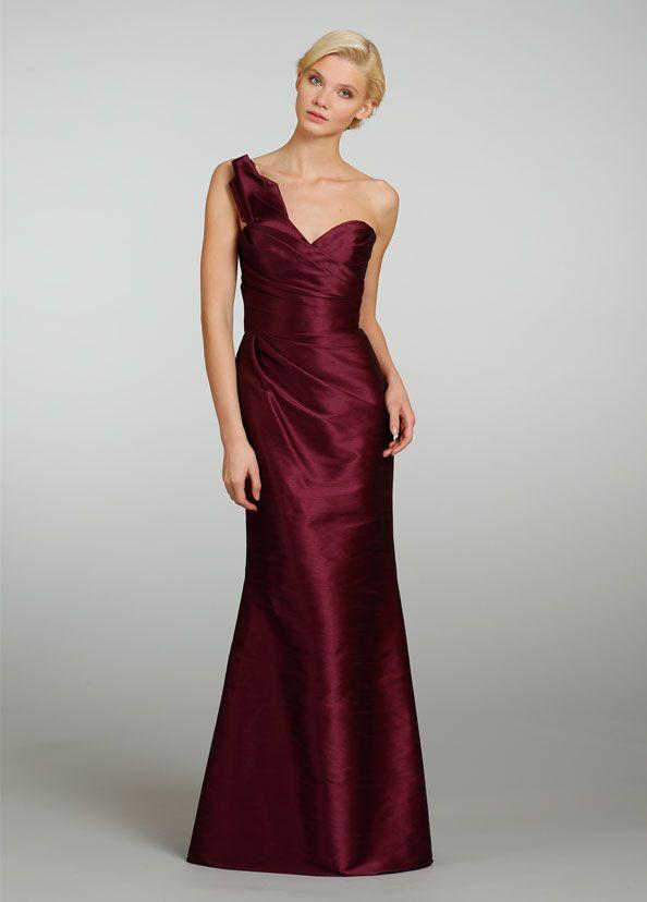 Bridesmaid Dress, Bridesmaid Dresses, 2013 A Line Sheath/Column One Shoulder  Taffeta Floor-length Ruffles Bridesmaid Dresses