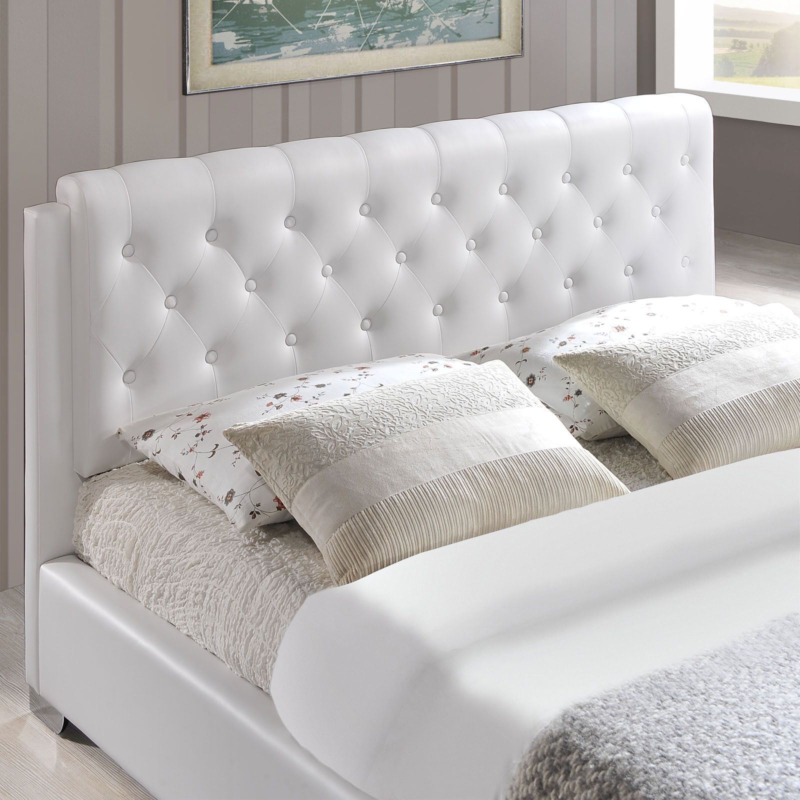 Amelia Full Fabric Bed Frame in White (With images