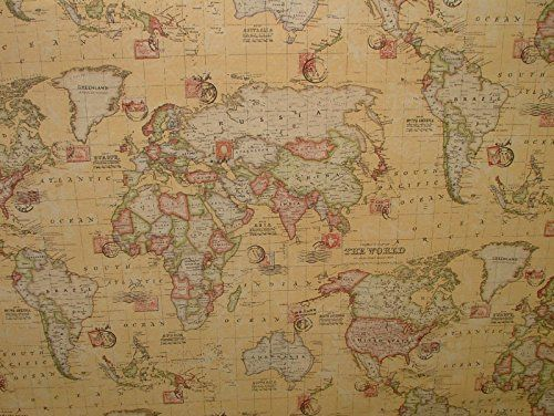 1m vintage atlas world map sand linen look curtain upholstery fabric 1m vintage atlas world map sand linen look curtain upholstery fabric pandoras upholstery http gumiabroncs Images