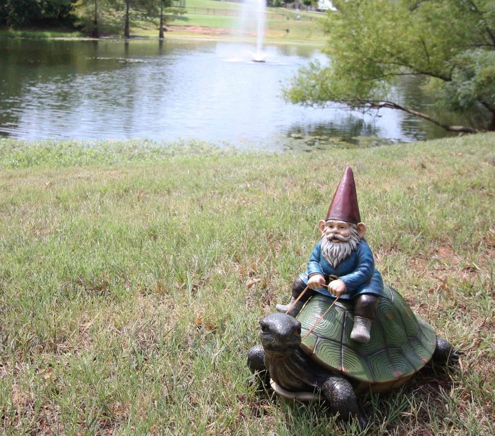 Large Whimsical Mr. Gnome Riding Faithful Giant Turtle Garden Statue ...