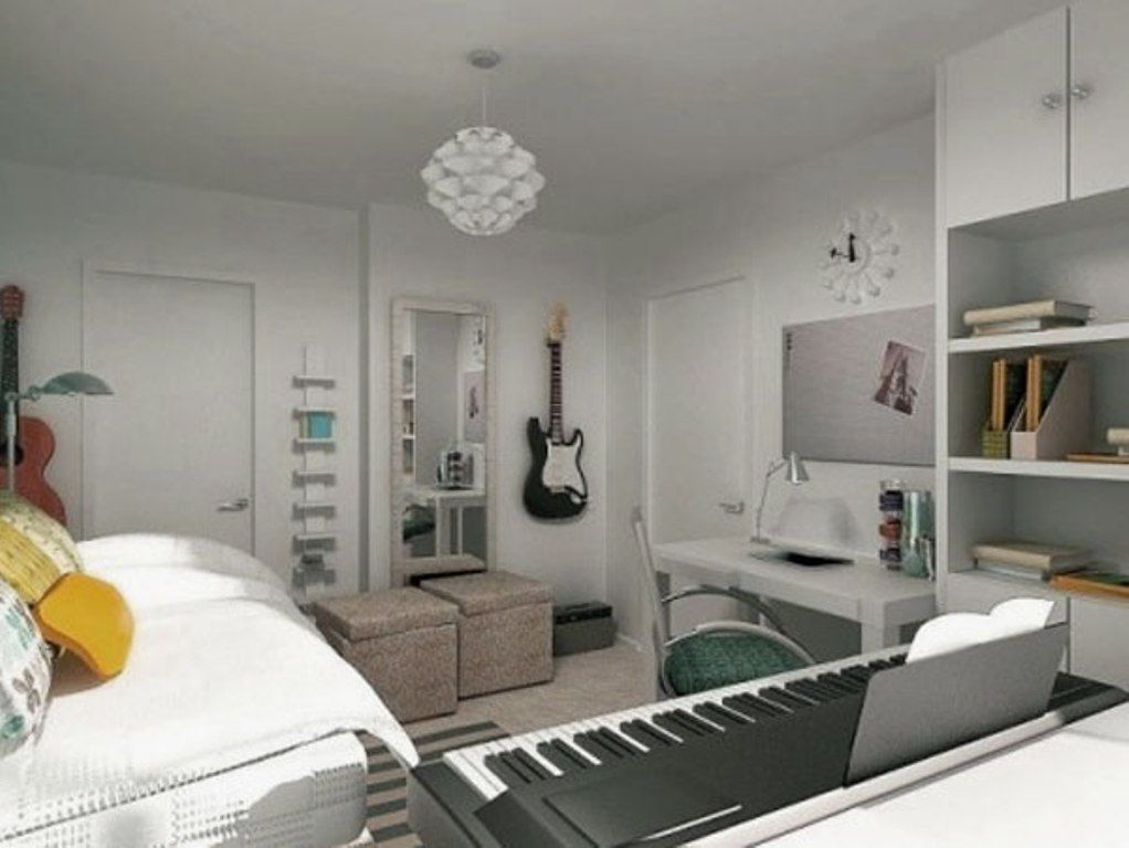 Room  White Music Themed Bedroom