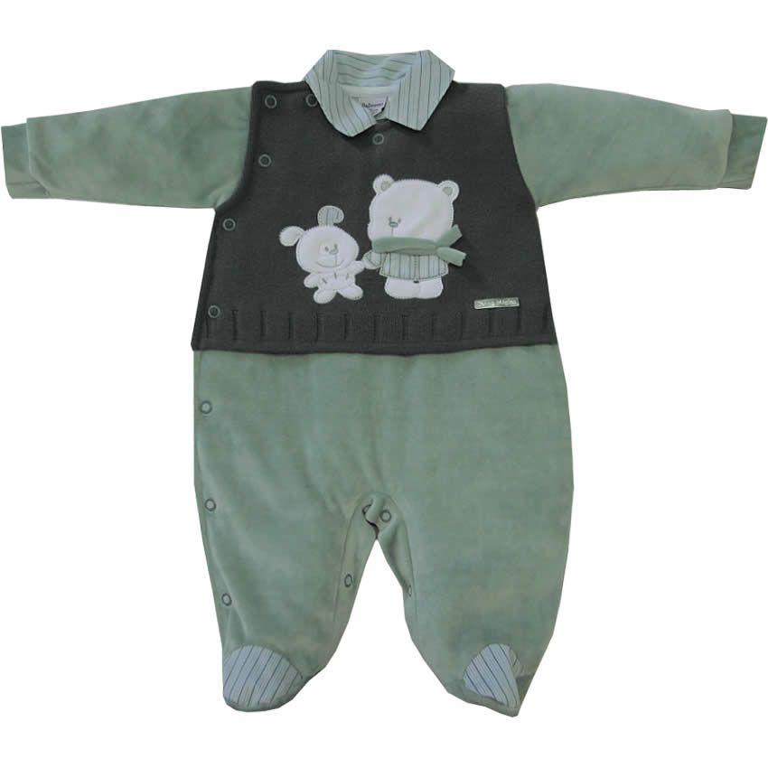 Macacão Bebê Menino em Plush e Tricot Verde - Sonho Mágico    764 Kids  5a94e4f49b5