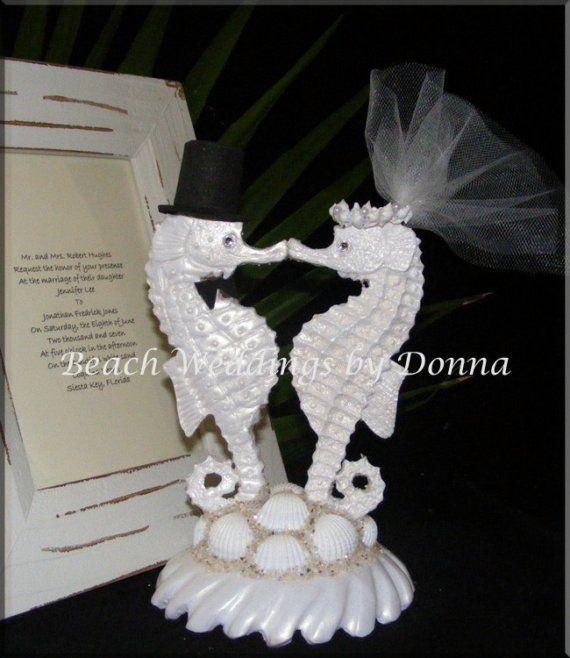 Seahorse Wedding Cake Topper | Seahorse Bride and Groom Wedding Cake ...