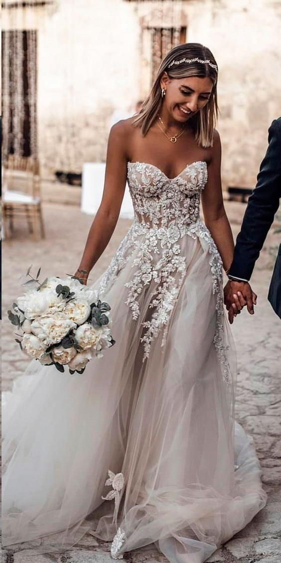 2d33b2f8d8 Beautiful Wedding Dresses Sweetheart Sweep Train Aline See Through Long  Bridal Gown JKW315