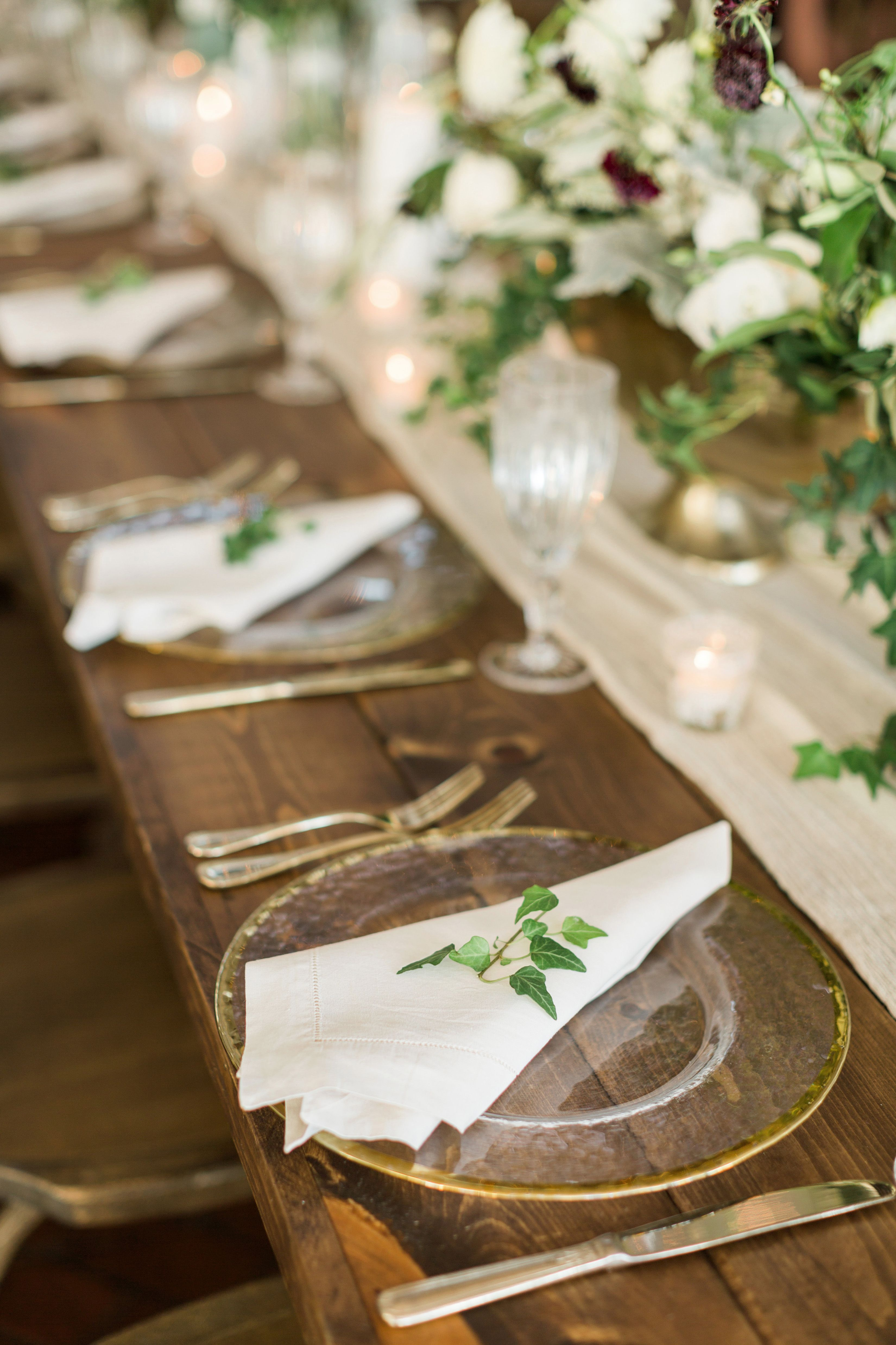 Golden Glass Plates With Greenery Wedding Table Settings Wedding Table Pretty Table Settings