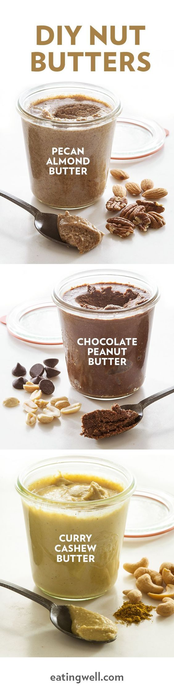 Delicious DIY nut butter recipes for no-nut butter, almond butter, cashew butter and more! With a food processor, toasted nuts and just a few other ingredients, you can whirl up a healthy treat worth spreading around. Try our homemade nut butters on toast, whizzed into a smoothie or for a treat right off the spoon. If you have a nut allergy or need to pack nut-free lunches, you'll love our easy recipe for homemade no-nut butter.