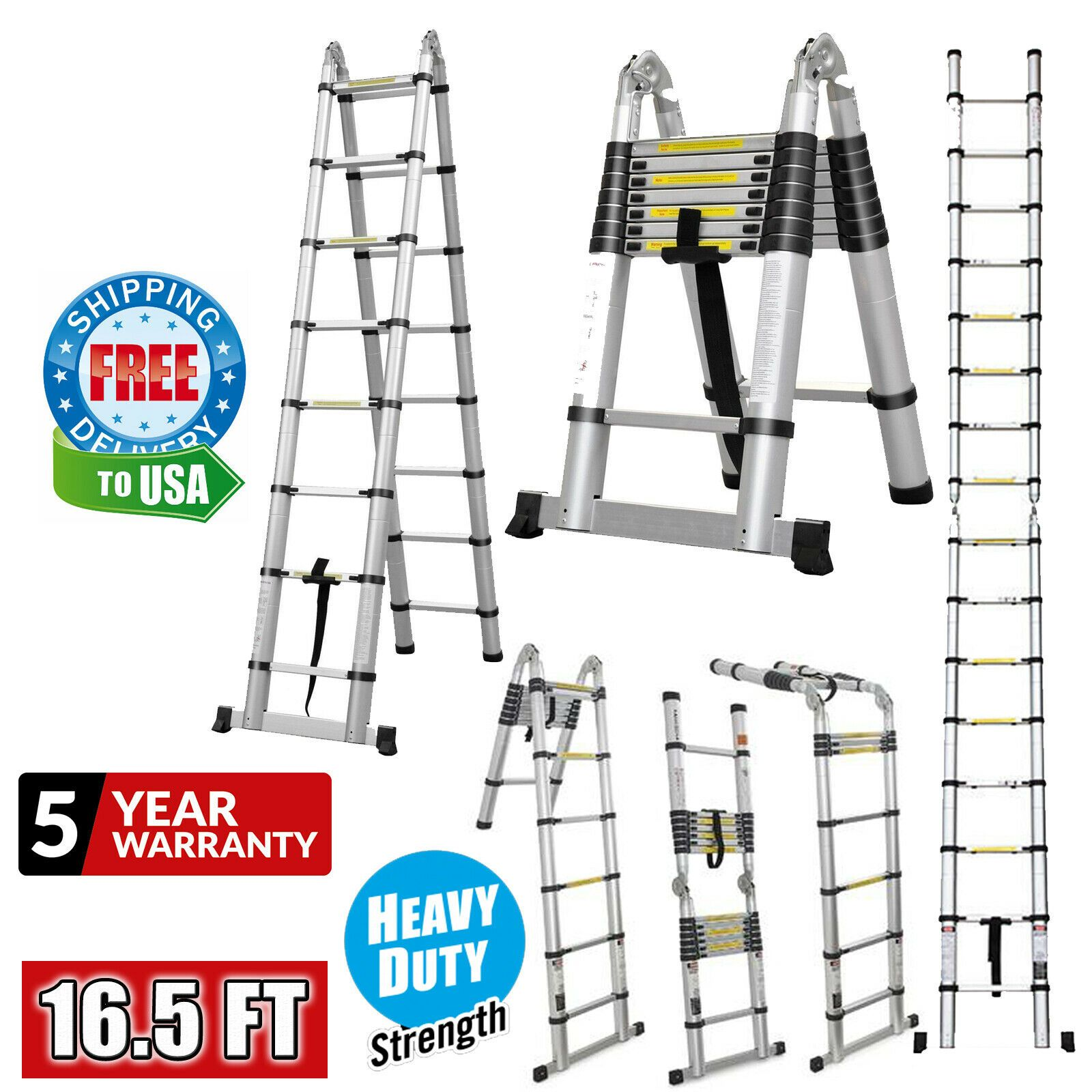 Telescopic Ladder 16 5 Ft Aluminum Extension Folding Ladder Multi Purpose New In 2020 Telescopic Ladder Folding Ladder Aluminum Extension