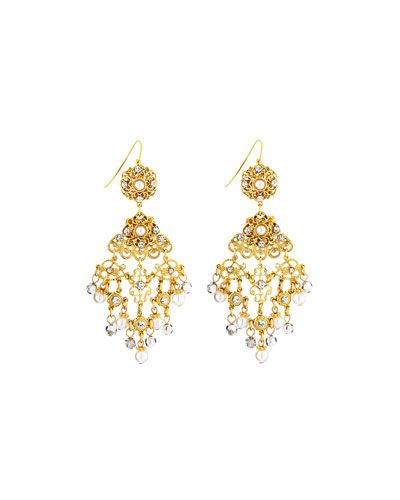 Jose & Maria Barrera Pearly Filigree Chandelier Earrings gSrEb