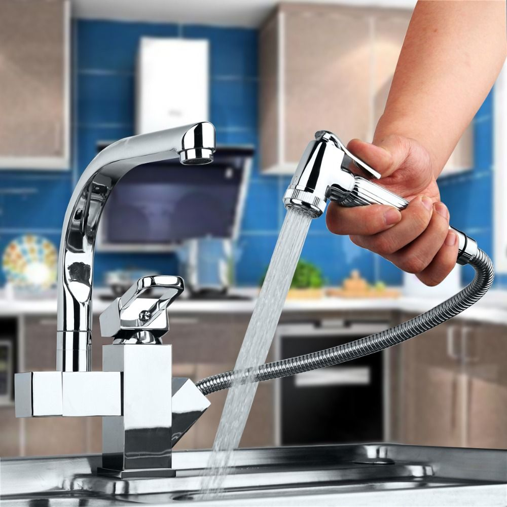 New Polished Chrome Brass Kitchen Faucet Dual Spout Vessel Mixer Tap ...