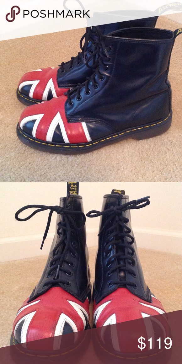Dr. Martens Union Jack combat boots 8 eyelet Docs with Union Jack pattern. These are badass! The label indicates 10 U.S. men / 11 U.S. women / 43 EU size. These run big. I wear an 11 U.S. womens' and 42 EU and these are a reposh because they're too big by at least 2 sizes. My loss is your gain! These are in great shape--look fairly new with a few scuffs and enough breaking in that they're ready to comfortably wear. After all, Docs that look too new are dorky :) Unisex. Dr. Martens Shoes…