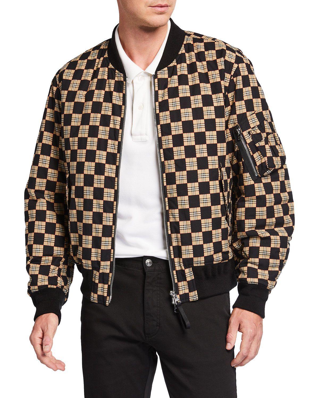 Burberry Men S Brookland Checkerboard Bomber Jacket Neiman Marcus Burberry Men Burberry Outfit Jackets [ 1500 x 1200 Pixel ]