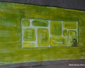 SOLD Hand Painted Canvas Floor Cloth Runner, Green Cobblestone with Frog