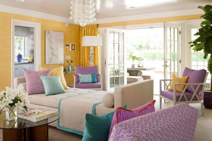 Yellow Turquoise Purple Living Room Color Scheme