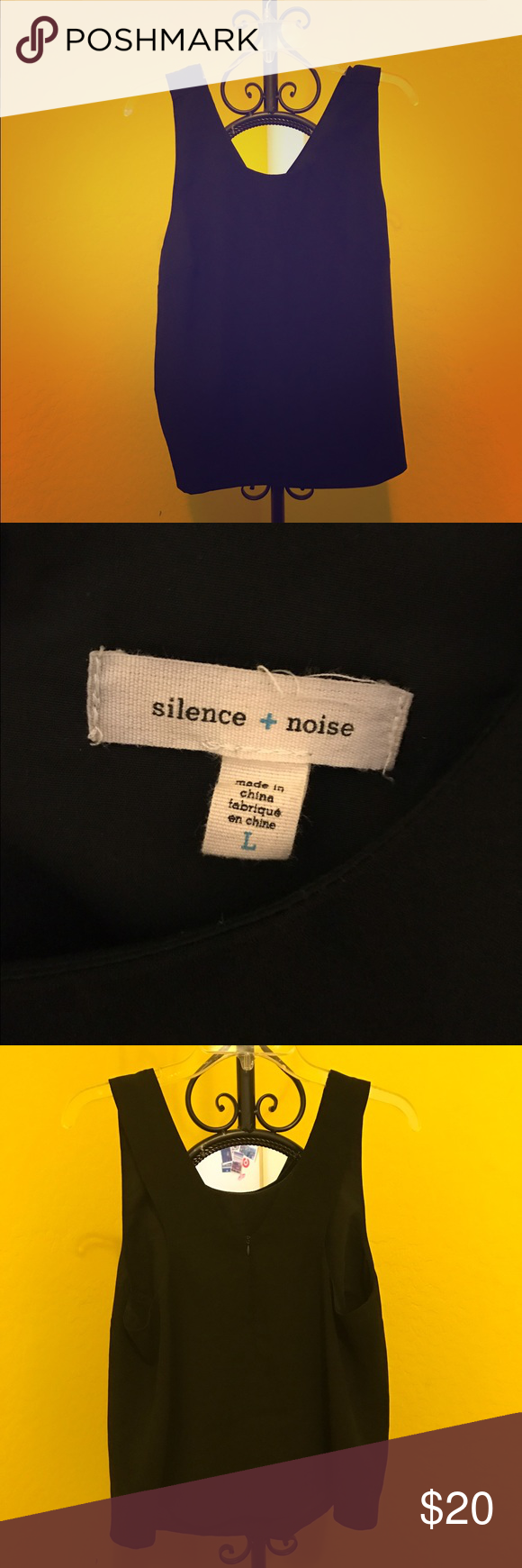 Silence + Noise Modern Zip-Back Tank Top Excellent condition. Worn about 4 times. Relaxed fit silhouette  implore with a scoop-neck finished with zippered closure at the strapping v-back. Polyester. silence + noise Tops Tank Tops