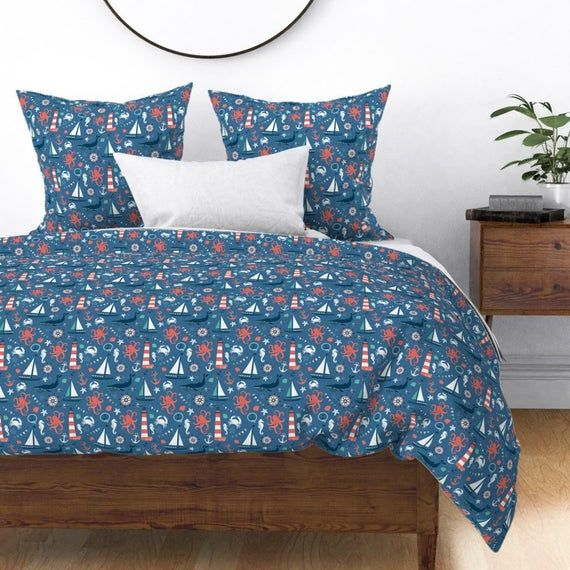 Ocean Duvet Cover - Nautical Fun by forthelove - Sea  Marine Octopus Whale Fish Boat Cotton Sateen D