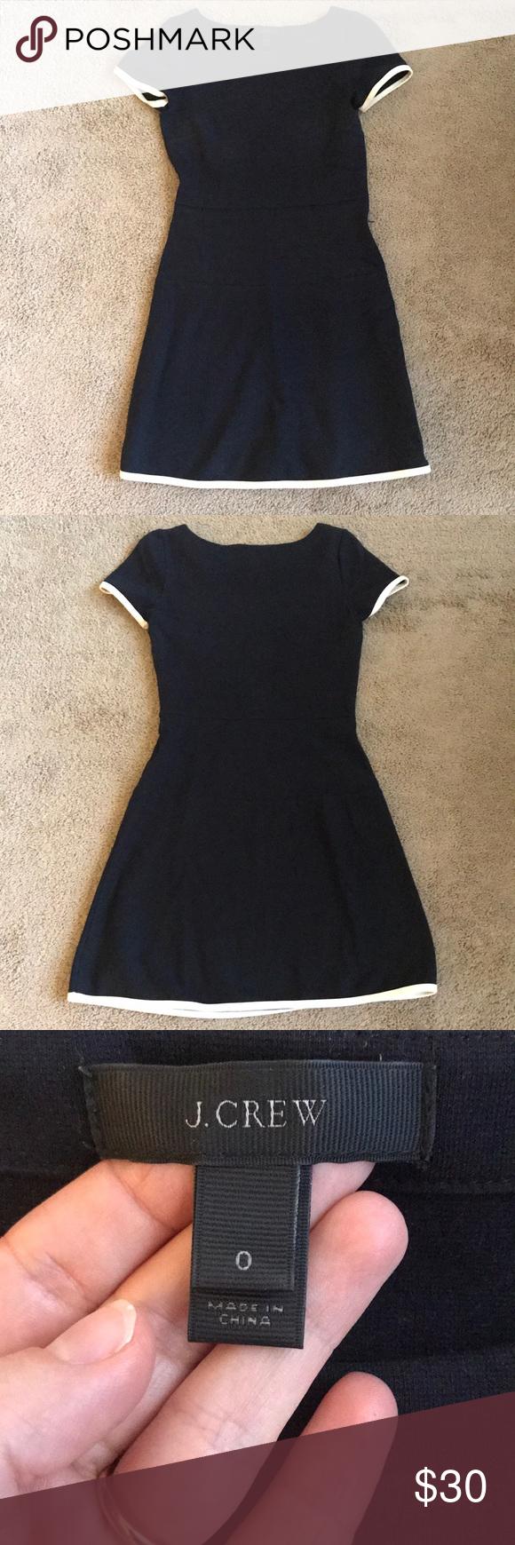 J Crew Navy Blue Dress W White Trim Navy Blue Dresses Dresses White Trim [ 1740 x 580 Pixel ]