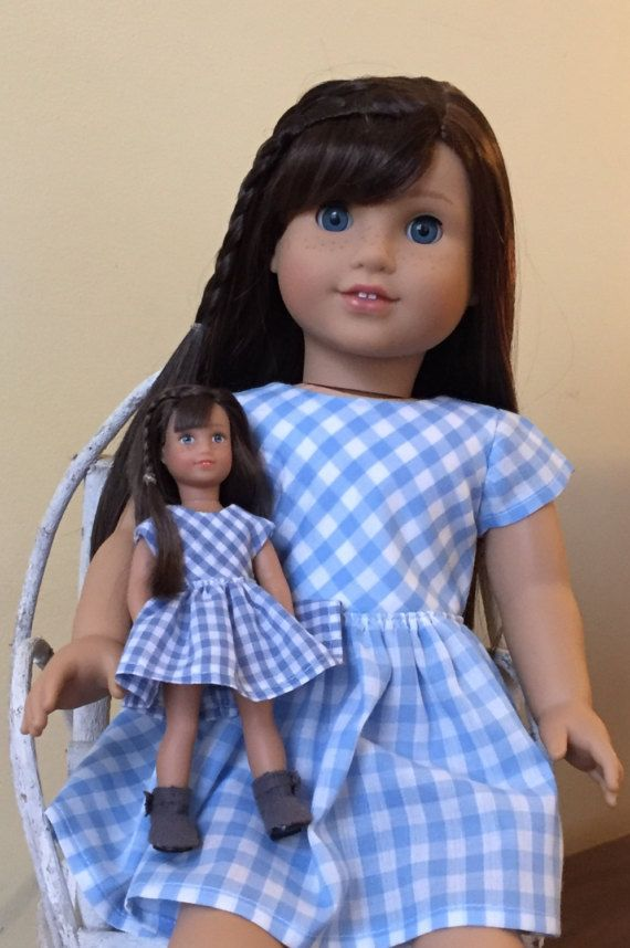 Doll clothes for 6 inch mini doll: blue gingham dress