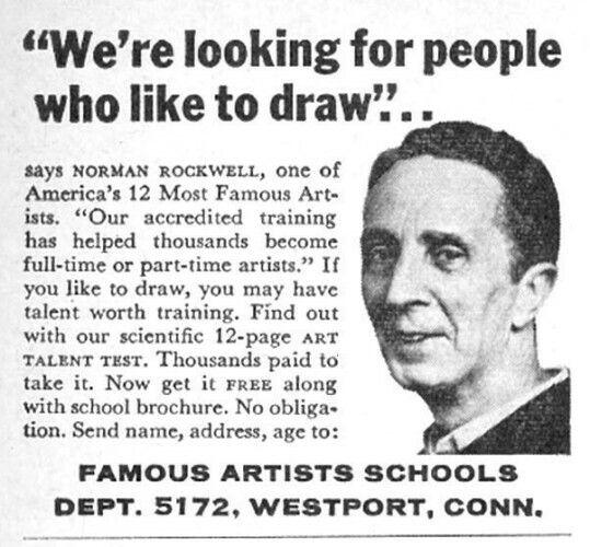 1966 Famous Artists Schools endorsement