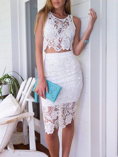 a862e1ebdb9 White Crochet Lace Sleeveless Crop Top With High Waist Midi Pencil Skirt