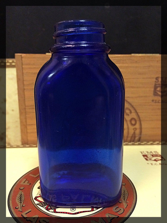 Vintage Cobalt Blue Glass Jar Bottle Marked Philips Milk of Magnesia ...