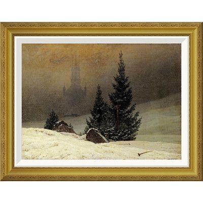 Global Gallery 'Winter Landscape with a Church' by Caspar David Friedrich Framed Painting Print Size: